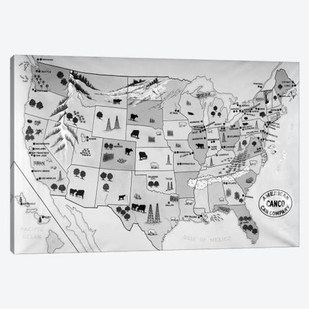 1930s-1940s Map Of United States Showing Agricultural And Industrial Resources Canvas Print #VTG158} by Vintage Images Canvas Artwork