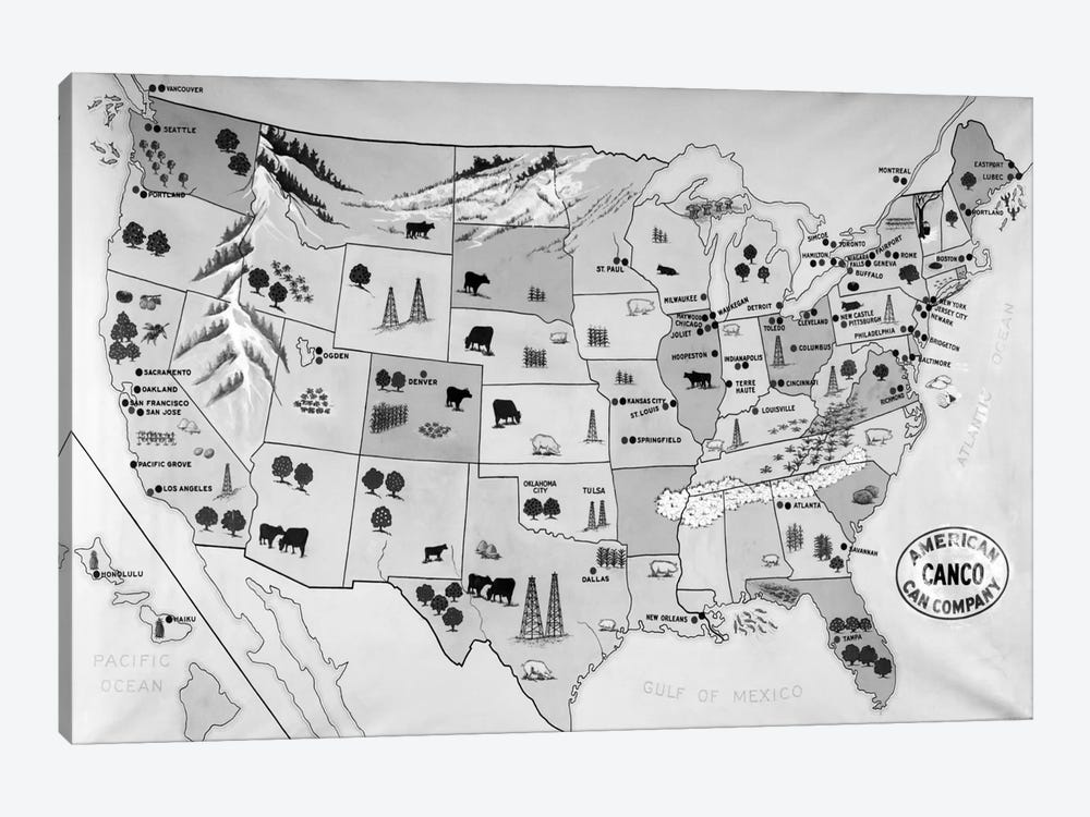 1930s-1940s Map Of United States Showing Agricultural And Industrial Resources 1-piece Canvas Art