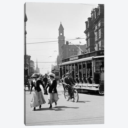 1900s-1910s-1912 Street Scene Pedestrians & Streetcar Detroit Michigan USA Canvas Print #VTG15} by Vintage Images Canvas Wall Art