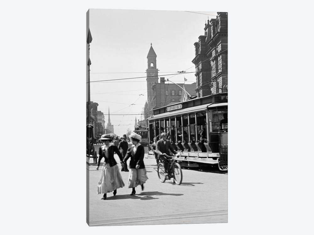 1900s-1910s-1912 Street Scene Pedestrians & Streetcar Detroit Michigan USA by Vintage Images 1-piece Canvas Wall Art