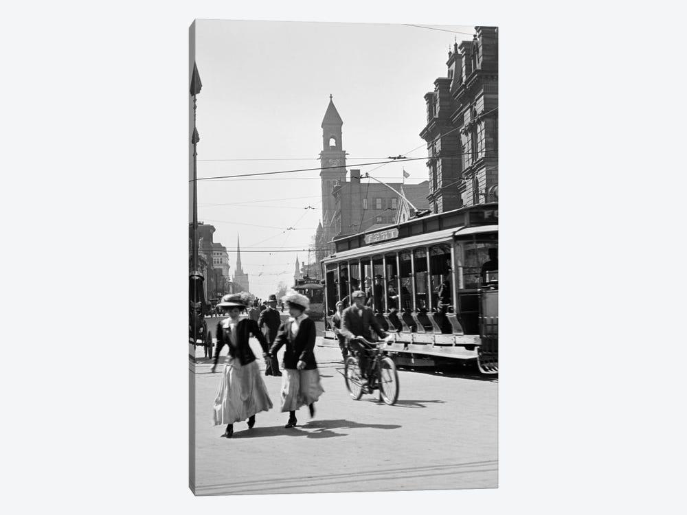 1900s-1910s-1912 Street Scene Pedestrians & Streetcar Detroit Michigan USA by Vintage Images 1-piece Canvas Wall Art