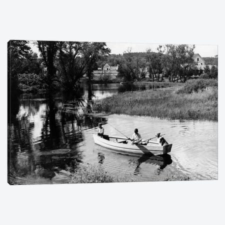1930s-1940s Pair Of Boys In Rowboat With Collie Fishing In Farm Area Canvas Print #VTG160} by Vintage Images Art Print