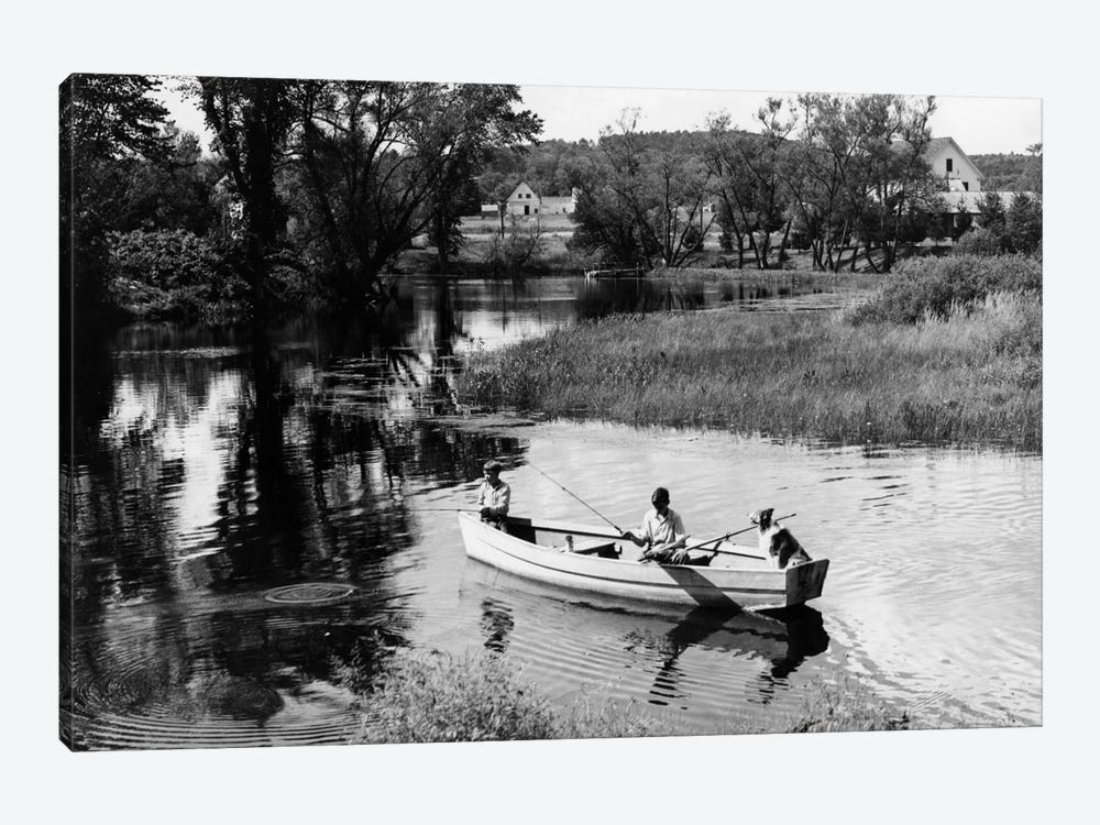 1930s-1940s Pair Of Boys In Rowboat With Collie Fishing In Farm Area by Vintage Images 1-piece Art Print