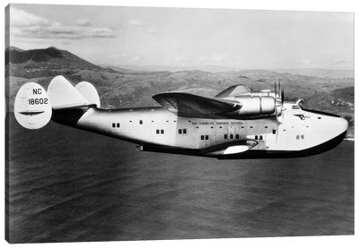 1930s-1940s Pan American Clipper Flying Boat Airplane In Flight Canvas Art Print