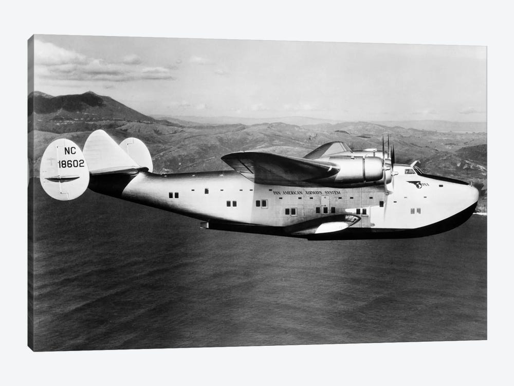 1930s-1940s Pan American Clipper Flying Boat Airplane In Flight by Vintage Images 1-piece Canvas Wall Art