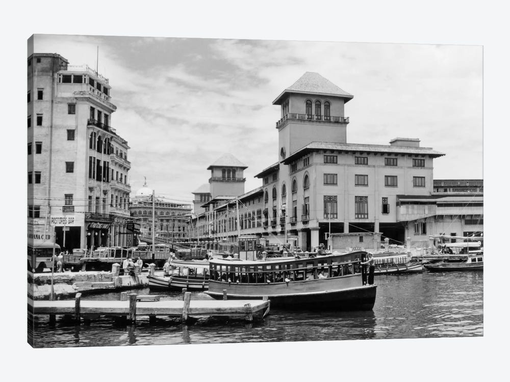 1930s-1940s Passenger Ferry At Waterfront Dock Havana Cuba 1-piece Canvas Print