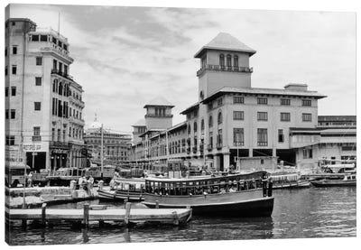 1930s-1940s Passenger Ferry At Waterfront Dock Havana Cuba Canvas Art Print