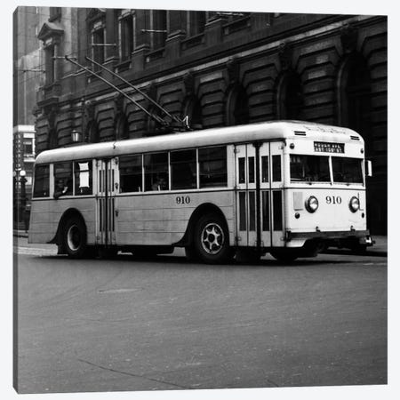 1930s-1940s Public Transportation Trackless Trolley Electric Bus About To Round Street Corner Cleveland Ohio USA Canvas Print #VTG165} by Vintage Images Canvas Art
