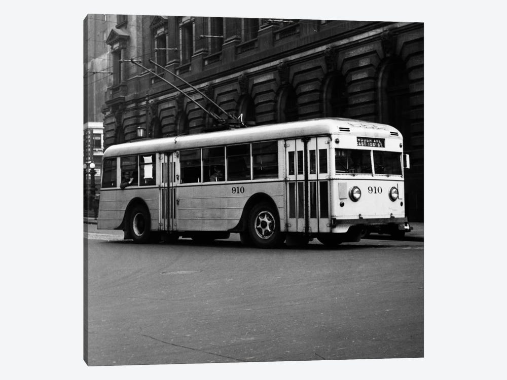 1930s-1940s Public Transportation Trackless Trolley Electric Bus About To Round Street Corner Cleveland Ohio USA by Vintage Images 1-piece Canvas Artwork