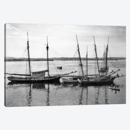 1930s-1940s Sailing Ships At Anchor Havana Harbor Cuba Canvas Print #VTG167} by Vintage Images Canvas Artwork