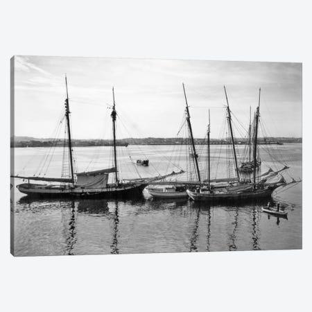 1930s-1940s Sailing Ships At Anchor Havana Harbor Cuba Canvas Print #VTG167} by Vintage Images Canvas Artwork
