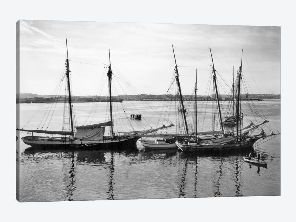 1930s-1940s Sailing Ships At Anchor Havana Harbor Cuba by Vintage Images 1-piece Canvas Artwork