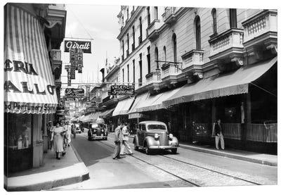 1930s-1940s Shopping Area San Rafael Avenue Havana Cuba Canvas Art Print