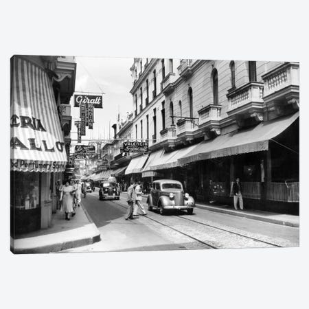 1930s-1940s Shopping Area San Rafael Avenue Havana Cuba 3-Piece Canvas #VTG168} by Vintage Images Canvas Print