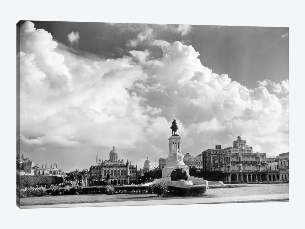 1930s-1940s Skyline Of Monument To Maxima Gomez In Center Dramatic Sky Clouds Havana Cuba by Vintage Images 1-piece Canvas Wall Art