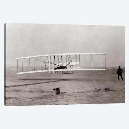 1903 Wright Brothers' Plane Taking Off At Kitty Hawk North Carolina USA Canvas Print #VTG16} by Vintage Images Canvas Art