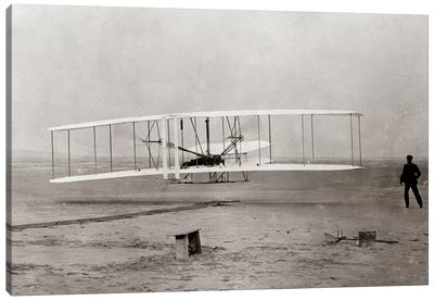 1903 Wright Brothers' Plane Taking Off At Kitty Hawk North Carolina USA Canvas Art Print