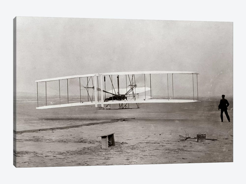 1903 Wright Brothers' Plane Taking Off At Kitty Hawk North Carolina USA by Vintage Images 1-piece Canvas Art Print