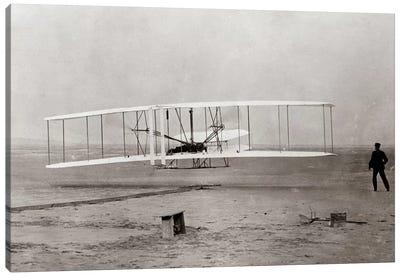1903 Wright Brothers' Plane Taking Off At Kitty Hawk North Carolina USA Canvas Art Print