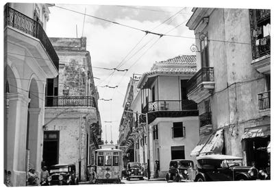 1930s-1940s Street Scene Cars Trolley Havana Cuba Canvas Art Print