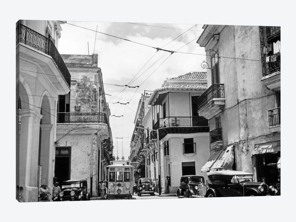 1930s-1940s Street Scene Cars Trolley Havana Cuba by Vintage Images 1-piece Art Print
