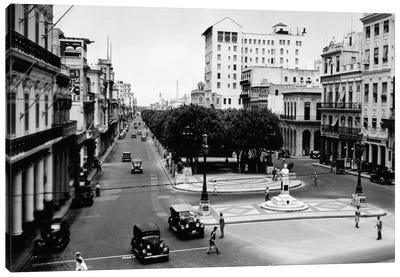 1930s-1940s Street Scene Of The Prado Havana Cuba Canvas Art Print
