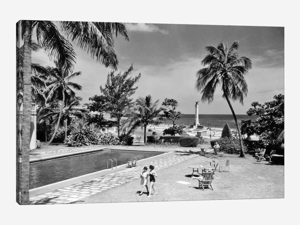 1930s-1940s Swimming Pool National Hotel With View Towards Maine Monument Havana Cuba by Vintage Images 1-piece Canvas Artwork