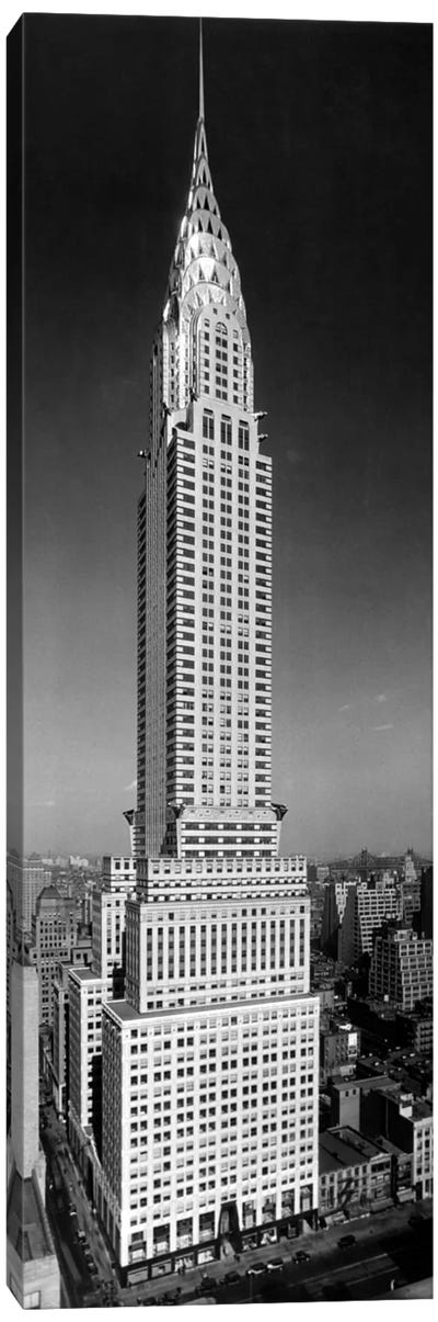 1930s-1940s Tall Narrow Vertical View Of Art Deco Style Chrysler Building Lexington Ave 42nd Street Manhattan New York City USA Canvas Art Print