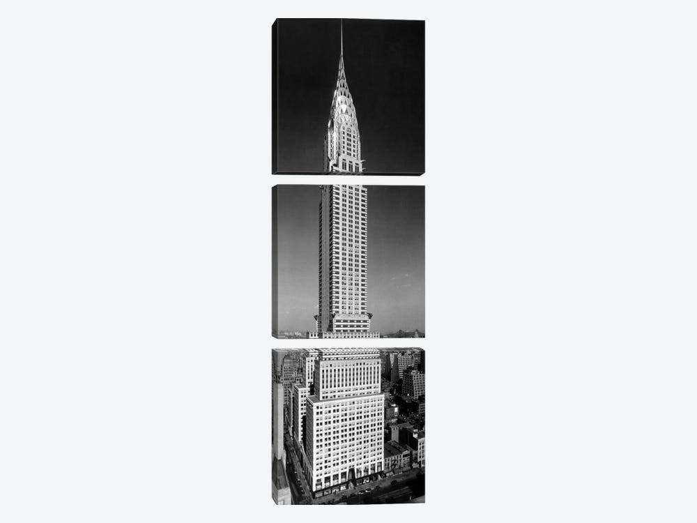 1930s-1940s Tall Narrow Vertical View Of Art Deco Style Chrysler Building Lexington Ave 42nd Street Manhattan New York City USA by Vintage Images 3-piece Canvas Print