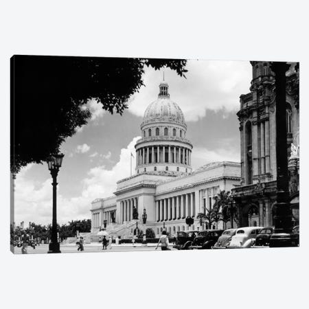 1930s-1940s The Capital Building Street Scene With Pedestrians Trees Lamps Motorcars & Sculptures Havana Cuba Canvas Print #VTG177} by Vintage Images Art Print