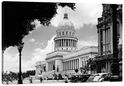 1930s-1940s The Capital Building Street Scene With Pedestrians Trees Lamps Motorcars & Sculptures Havana Cuba Canvas Art Print