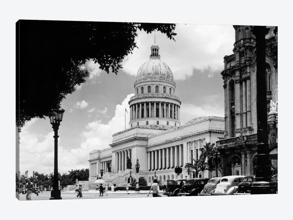 1930s-1940s The Capital Building Street Scene With Pedestrians Trees Lamps Motorcars & Sculptures Havana Cuba by Vintage Images 1-piece Art Print