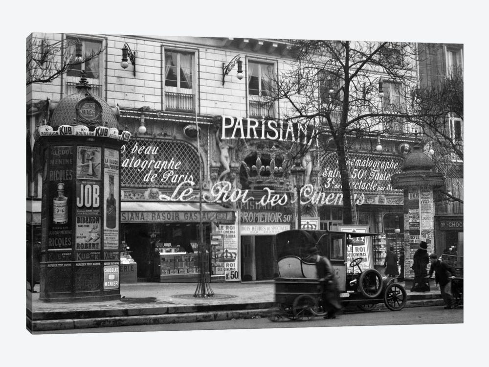 1910 Street Scene Showing A Kiosk And The Front Of The King Of Cinemas Theater Paris France by Vintage Images 1-piece Canvas Artwork