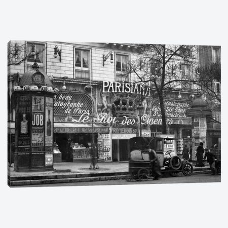 1910 Street Scene Showing A Kiosk And The Front Of The King Of Cinemas Theater Paris France Canvas Print #VTG17} by Vintage Images Canvas Wall Art