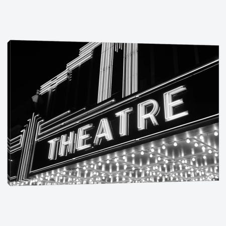 1930s-1940s Theater Marquee Theatre In Neon Lights Canvas Print #VTG182} by Vintage Images Art Print