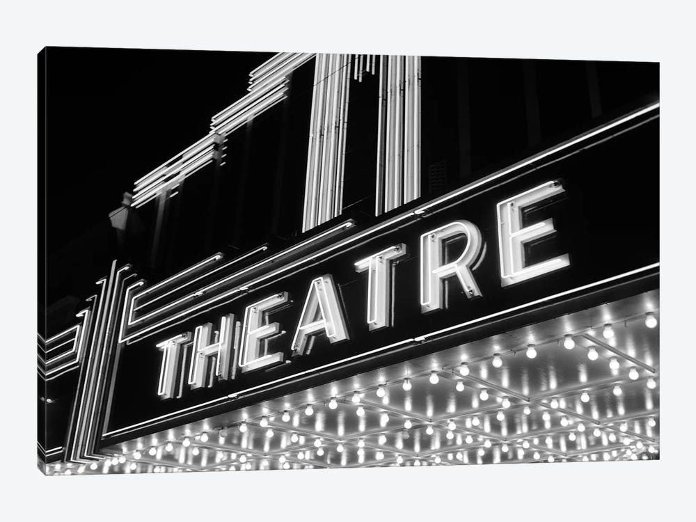 1930s-1940s Theater Marquee Theatre In Neon Lights by Vintage Images 1-piece Canvas Print