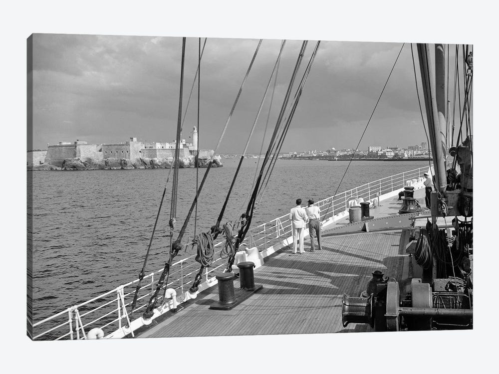 1930s-1940s Two Men On Deck Of Steamer Ship Coming Into Havana Harbor Cuba by Vintage Images 1-piece Canvas Art