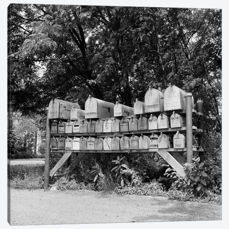 1930s-1940s-1950s Group Of 37 Rural Delivery Mailboxes At Side Of Country Road Canvas Print #VTG188} by Vintage Images Canvas Art Print