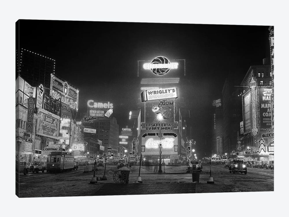 1935 Times Square Lighted At Night Broadway's Great White Way NYC USA by Vintage Images 1-piece Canvas Artwork