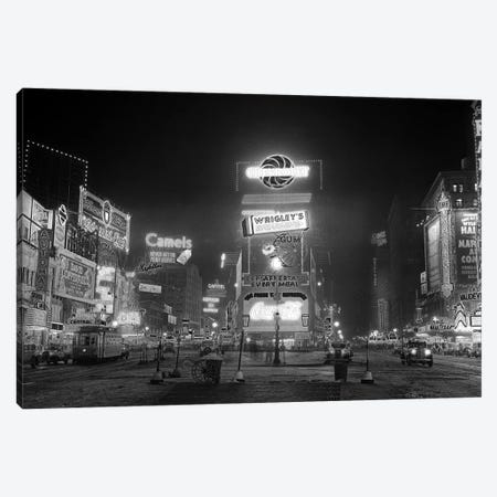 1935 Times Square Lighted At Night Broadway's Great White Way NYC USA Canvas Print #VTG189} by Vintage Images Canvas Print
