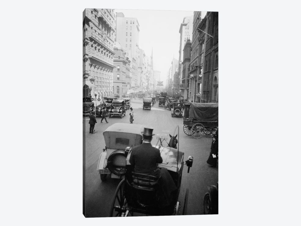 1910s 5th Ave At 43rd Looking North Cars Wagons Pedestrians A Hansom Cab And Driver In Top Hat In Foreground New York City USA by Vintage Images 1-piece Art Print