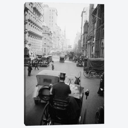 1910s 5th Ave At 43rd Looking North Cars Wagons Pedestrians A Hansom Cab And Driver In Top Hat In Foreground New York City USA Canvas Print #VTG18} by Vintage Images Canvas Print