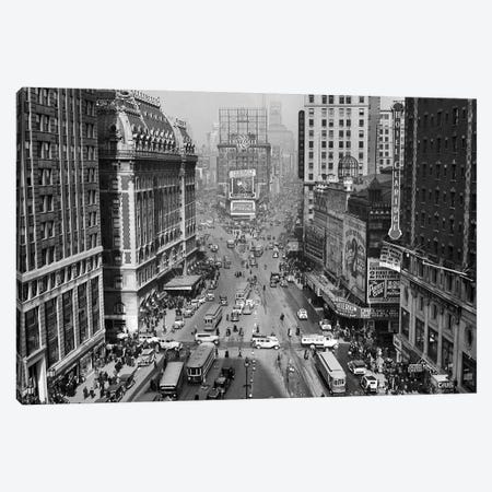 1935 Times Square Looking North From Times Tower Midtown Manhattan Pedestrians Traffic Cars Trolleys Buildings Marquees Canvas Print #VTG190} by Vintage Images Canvas Wall Art