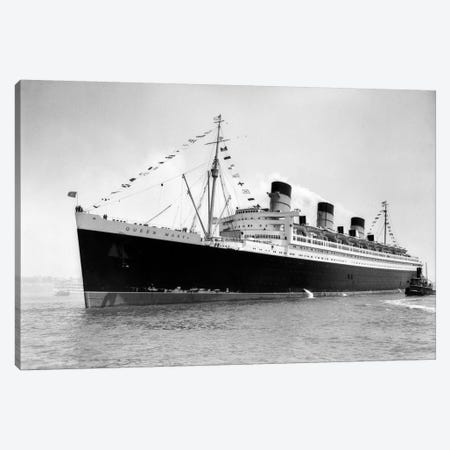 1936 Maiden Voyage Of Queen Mary Dwarfing Small Tugboat Moving Alongside It Canvas Print #VTG191} by Vintage Images Canvas Wall Art