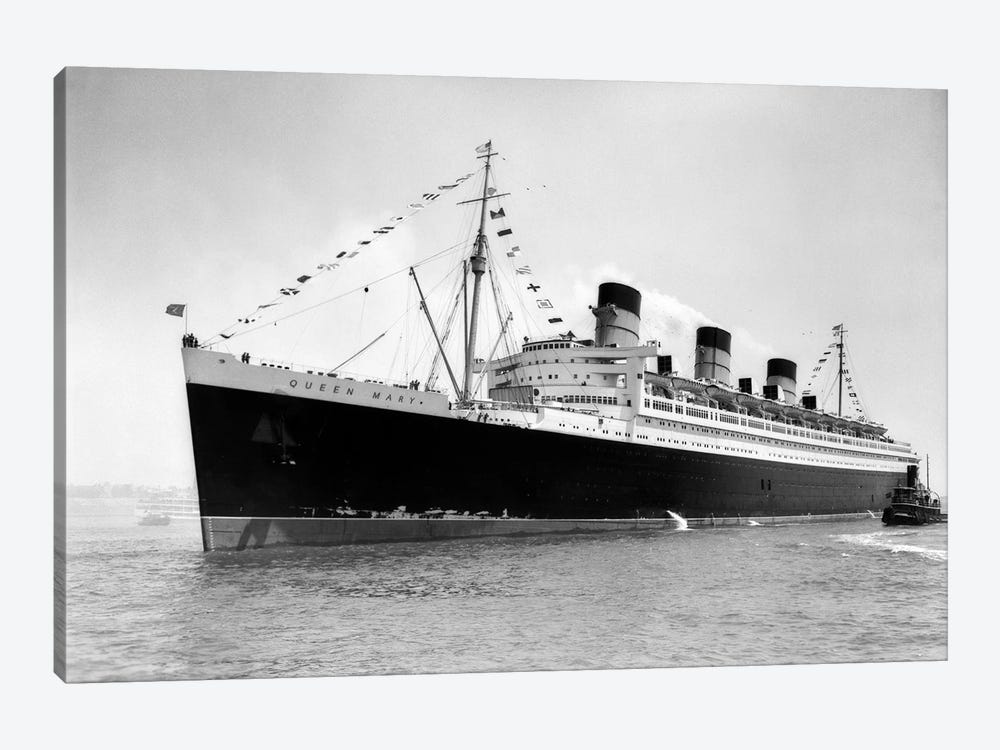 1936 Maiden Voyage Of Queen Mary Dwarfing Small Tugboat Moving Alongside It by Vintage Images 1-piece Canvas Print