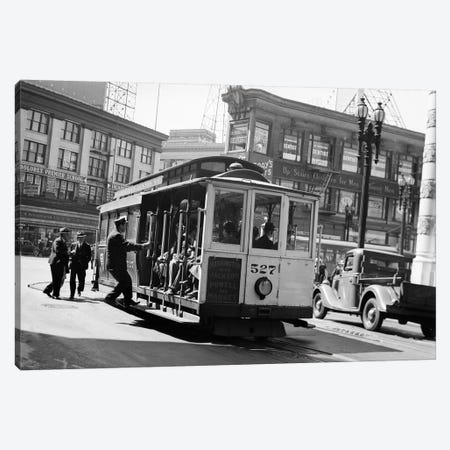 1937 Anonymous Silhouetted Cable Car Gripman Turning Car Around At Market Street San Francisco California USA Canvas Print #VTG192} by Vintage Images Canvas Art