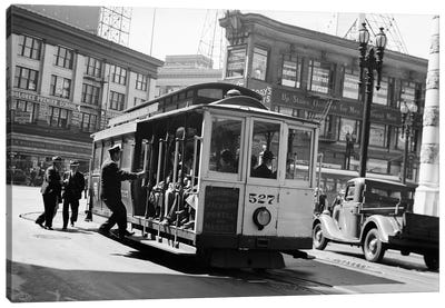 1937 Anonymous Silhouetted Cable Car Gripman Turning Car Around At Market Street San Francisco California USA Canvas Art Print