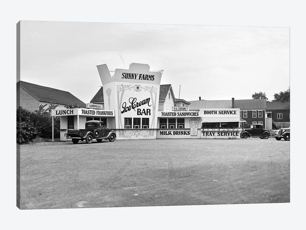 1937 Roadside Eatery The Sunny Farms Ice Cream Bar Massachusetts USA by Vintage Images 1-piece Art Print