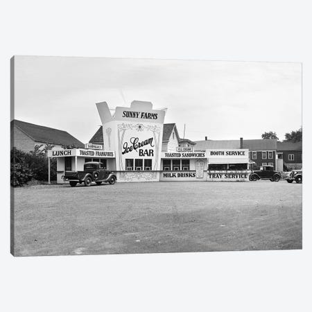1937 Roadside Eatery The Sunny Farms Ice Cream Bar Massachusetts USA Canvas Print #VTG193} by Vintage Images Canvas Art