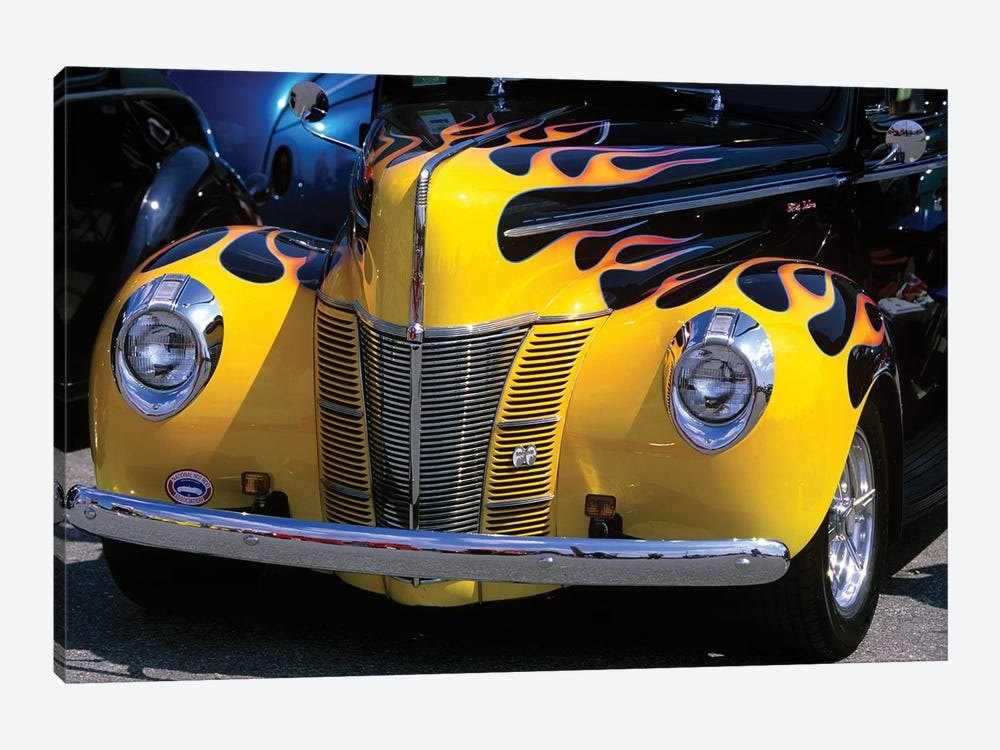1939-1940 Ford Flame Job Painted Hot Rod Automobile Hood Headlights Grill Front Bumper by Vintage Images 1-piece Canvas Art Print